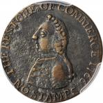 1766 Pitt Halfpenny Token. Betts-519, W-8350. Rarity-3. Copper. EF Details--Environmental Damage (PC