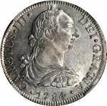 MEXICO. 8 Reales, 1784-FF. Charles III (1759-88). NGC AU Details--Chopmarked.