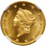 1849 $1 Gold Liberty. No L. NGC MS65