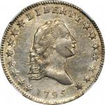 1795 Flowing Hair Half Dollar. O-126a, T-22. Rarity-4+. Small Head, Two Leaves. AU-58 (NGC).