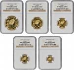 1986年熊猫P版精制纪念金币全套5枚 NGC CHINA. Gold Proof Set (5 Pieces), 1986-P