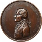 """""""1801"""" (circa 1840s) Thomas Jefferson Indian Peace Medal. Copper, Bronzed. First Size. Original Dies"""