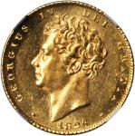 GREAT BRITAIN. 1/2 Sovereign, 1826.George IV (1820-30). NGC MS-62.