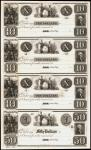 Uncut Sheet of (4) Astor, Green Bay, Wisconsin Territory. Private Scrip. 18xx $10-$10-$10-$50. Choic