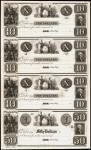 Uncut Sheet of (4) Astor, Green Bay, Wisconsin Territory. Private Scrip. 18xx $10-$10-$10-$50. Choic