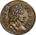 1760 Voce Populi Halfpenny. Nelson-11, Zelinka 14-C, W-13960. P Below Bust. AU-55 (PCGS).