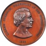 1865 Andrew Johnson Indian Peace Medal. Bronze. 63 mm. Julian IP-41. MS-63BN (NGC).