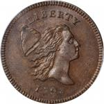 1795 Liberty Cap Half Cent. C-1. Rarity-2. Lettered Edge, With Pole. MS-62 BN (PCGS).