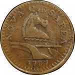 1787 New Jersey copper. Maris 64-t. Rarity-1. Large planchet. EF-40 (PCGS).