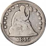 1849-O Liberty Seated Quarter. Briggs 1-A, the only known dies. Good-6 (PCGS).