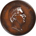 1850 Millard Fillmore Indian Peace Medal. First Size. Bronzed Copper. 75.9 mm, rims 6.6 to 7.5 mm th