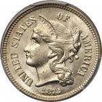 1873 Nickel Three-Cent Piece. Open 3. MS-66+ (PCGS).