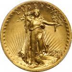 MCMVII (1907) Saint-Gaudens Double Eagle. High Relief. Wire Rim. Unc Details--Edge Damage (PCGS).