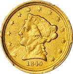 1840-C Liberty Head Quarter Eagle. AU-53 (PCGS).
