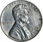 1944 Lincoln Cent--Struck on a Zinc-Coated Steel Planchet--AU Details--Cleaned (PCGS).
