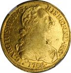 CHILE. 8 Escudos, 1766-So J. Santiago Mint. Charles III. NGC AU Details--Cleaned.