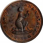 1838 Am I Not A Woman. HT-81, Low-54, W-11-720a. Rarity-1. Copper. Plain Edge. 28.3 mm. MS-62 BN (PC