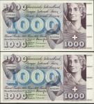 Swiss National Bank, 1000 francs (2), 1 October 1973, serial number 6X 74484/485, violet , blue and