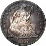 1857 Liberty Seated Silver Dollar. Proof-64 (PCGS).