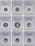 Lot of (9) Modern Proof Coins. Proof-69 Deep Cameo (PCGS).