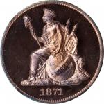 1871 Pattern Half Dollar. Judd-1109, Pollock-1245. Rarity-7-. Copper. Reeded Edge. Proof-65+ RD Ultr