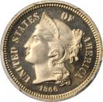 1866 Nickel Three-Cent Piece. Proof-67 Cameo (PCGS).