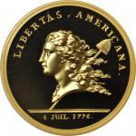 1781 (2014) Libertas Americana Medal. Paris Mint Restrike. Gold. 34 mm. 1 ounce. Proof-70 DCAM (PCGS