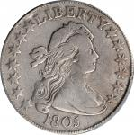 1805 Draped Bust Half Dollar. O-113, T-1. Rarity-4+. VF Details--Cleaned (PCGS).