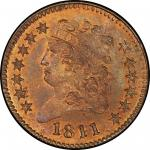 1811 Classic Head Half Cent. Restrike. Rarity-7. Mint State-65+ RB (PCGS).
