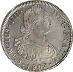 CHILE. 8 Reales, 1807-So FJ. Santiago Mint. Charles IV. NGC AU-55.