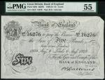 Bank of England, B.G. Catterns, £5, Leeds 8 August 1929, prefix 433U, black and white, ornate crowne