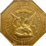 1851 Augustus Humbert $50. Reeded Edge. K-5. Rarity-5-. 880 THOUS., Target Reverse. MS-61 (NGC).