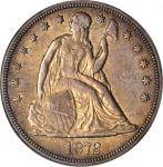 1872-S Liberty Seated Silver Dollar. OC-1, the only known dies. Rarity-3-. AU-50 (PCGS).