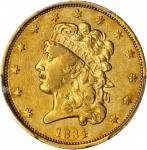 1834 Classic Head Half Eagle. McCloskey-2. Second Head, Small Plain 4. AU Details--Damage (PCGS).