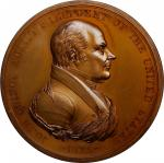 1825 John Quincy Adams Indian Peace Medal. Large Size. Bronze. 76 mm. Julian IP-11. First Reverse. M
