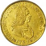 COLOMBIA. 1757-SJ 4 Escudos. Santa Fe de Nuevo Reino (Bogotá) mint. Ferdinand VI (1746-1759). Restre