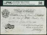 Bank of England, M. Marshall, £5, London 28 December 1863, XL 15375, black and white, ornate crowned