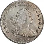 1798 Draped Bust Silver Dollar. Heraldic Eagle. BB-104, B-22. Rarity-4. Pointed 9, Wide Date. VF Det