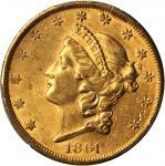 1861-S Liberty Head Double Eagle. MS-61 (PCGS).