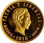 CUBA. 5 Pesos, 1915. Philadelphia Mint. NGC PROOF-64 Ultra Cameo.