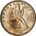 1848 Liberty Seated Half Dollar. WB-7. Rarity-3. Repunched Date, Doubled Die Reverse. MS-63 (PCGS).