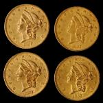 Lot of (4) 1857 Liberty Head Double Eagles. EF-AU (Uncertified).