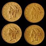 Lot of (4) 1857 Liberty Head Double Eagles. EF-AU (Uncertified).