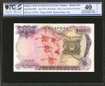 1970年新加坡货币发行局一仟圆。PCGS GSG Extremely Fine 40 Details. Spotted Paper, Tear.