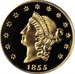 1855 Kellogg & Co. $50. Commemorative Restrike. Struck September 12, 2001. Gem Proof (PCGS).