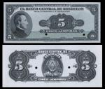Honduras. El Banco Central de Honduras. Pair of India Paper on Card Proofs. 5 Lempiras. 1950-51. P-4
