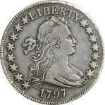 1797 Draped Bust Half Dollar. Small Eagle. O-102, T-2. Rarity-5+. 15 Stars. VF Details--Filed Rims (