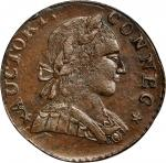 1788 Connecticut copper. Miller 2-D, W-4405. Rarity-2. Mailed Bust Right. MS-62 BN (PCGS).