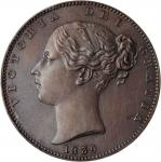 GREAT BRITAIN. Farthing, 1839. London Mint. Victoria. PCGS PROOF-64 Gold Shield.