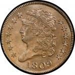 1809 Classic Head Half Cent. Cohen-6, Breen-6. Rarity-1. Mint State-65 BN (PCGS).